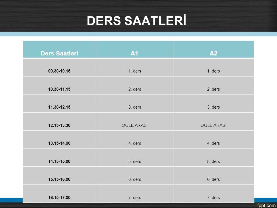 DERS SAATLERİ Ders Saatleri A1 A2 09.30-10.15 1. ders 10.30-11.15