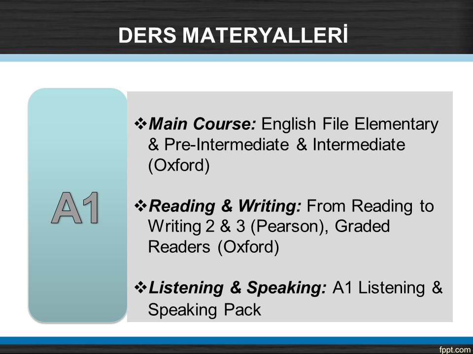 DERS MATERYALLERİ A1. Main Course: English File Elementary & Pre-Intermediate & Intermediate (Oxford)