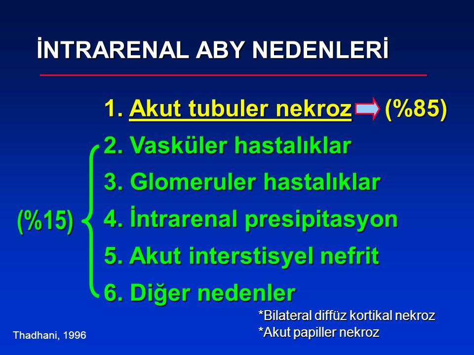(%15) İNTRARENAL ABY NEDENLERİ 1. Akut tubuler nekroz (%85)