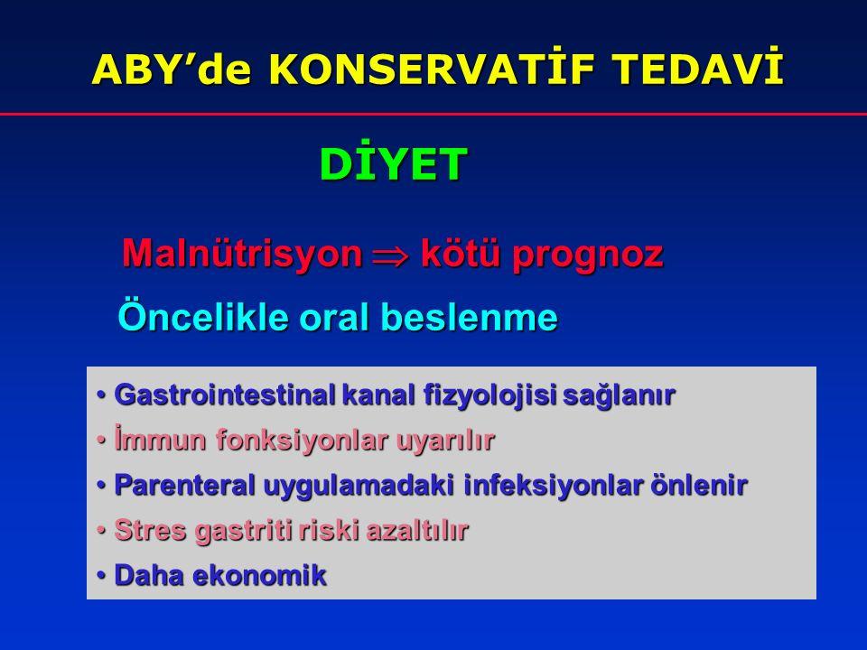 DİYET ABY'de KONSERVATİF TEDAVİ Malnütrisyon  kötü prognoz