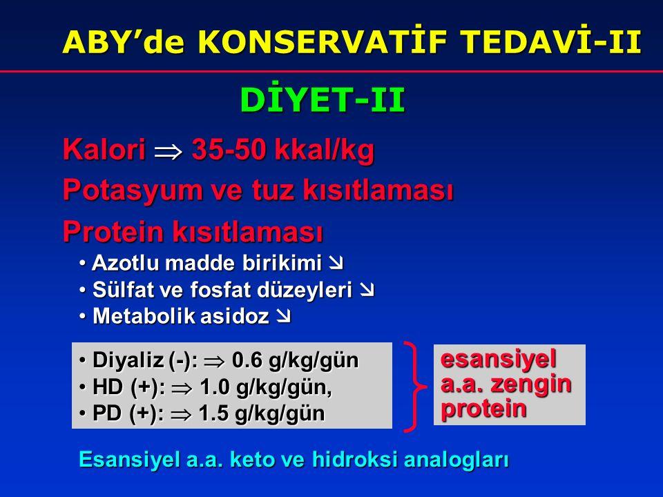 DİYET-II ABY'de KONSERVATİF TEDAVİ-II Kalori  35-50 kkal/kg