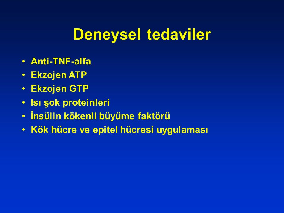 Deneysel tedaviler Anti-TNF-alfa Ekzojen ATP Ekzojen GTP