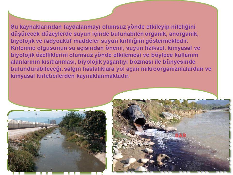 Su kaynaklarından faydalanmayı olumsuz yönde etkileyip niteliğini düşürecek düzeylerde suyun içinde bulunabilen organik, anorganik, biyolojik ve radyoaktif maddeler suyun kirliliğini göstermektedir.