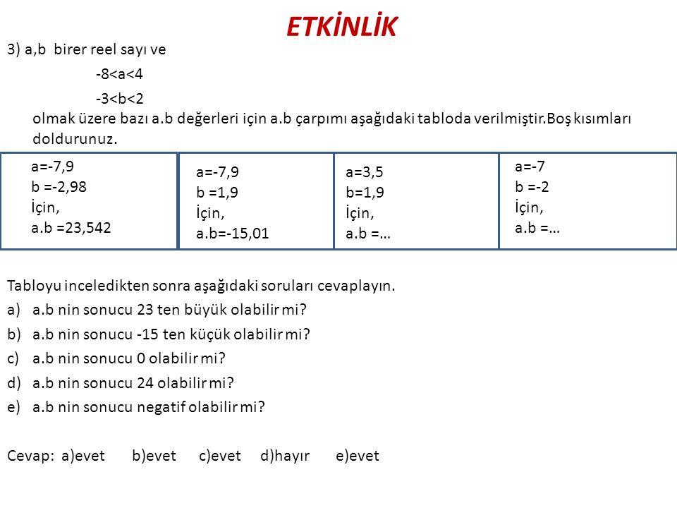 ETKİNLİK 3) a,b birer reel sayı ve -8<a<4