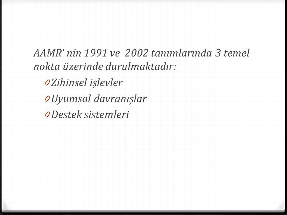 AAMR' nin 1991 ve 2002 tanımlarında 3 temel nokta üzerinde durulmaktadır: