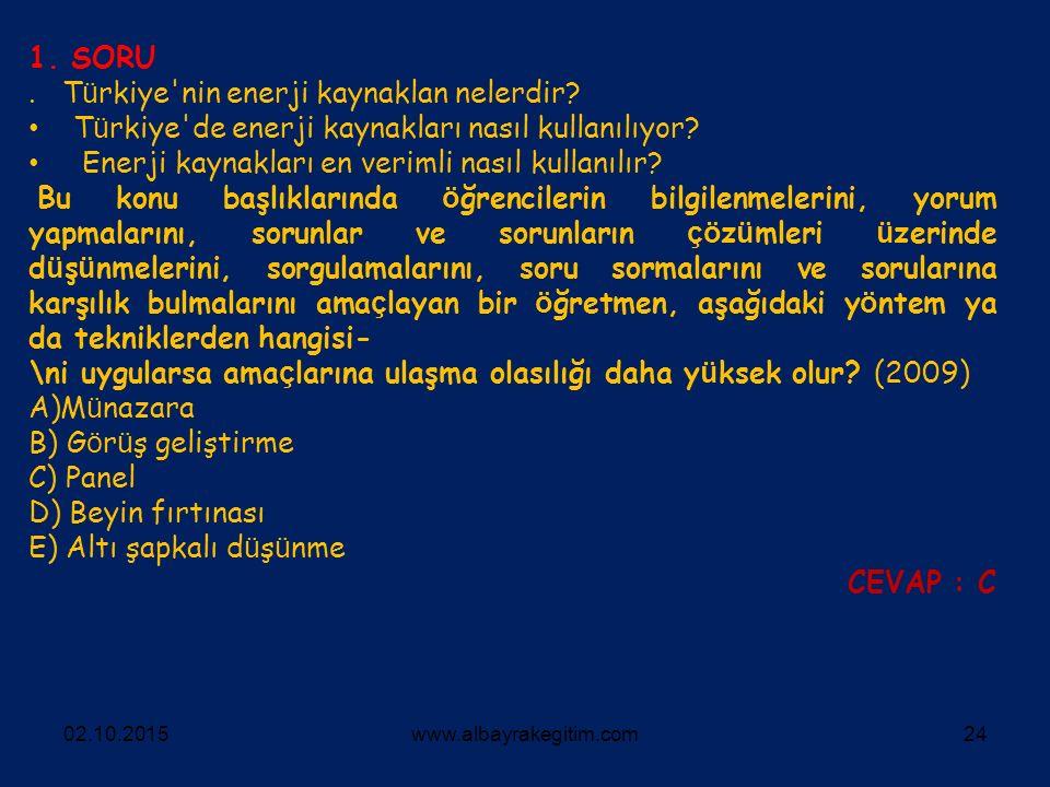 . Türkiye nin enerji kaynaklan nelerdir