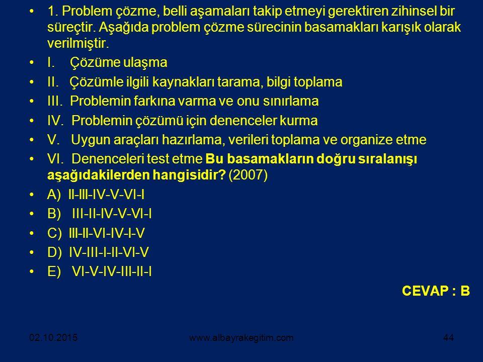 II. Çözümle ilgili kaynakları tarama, bilgi toplama