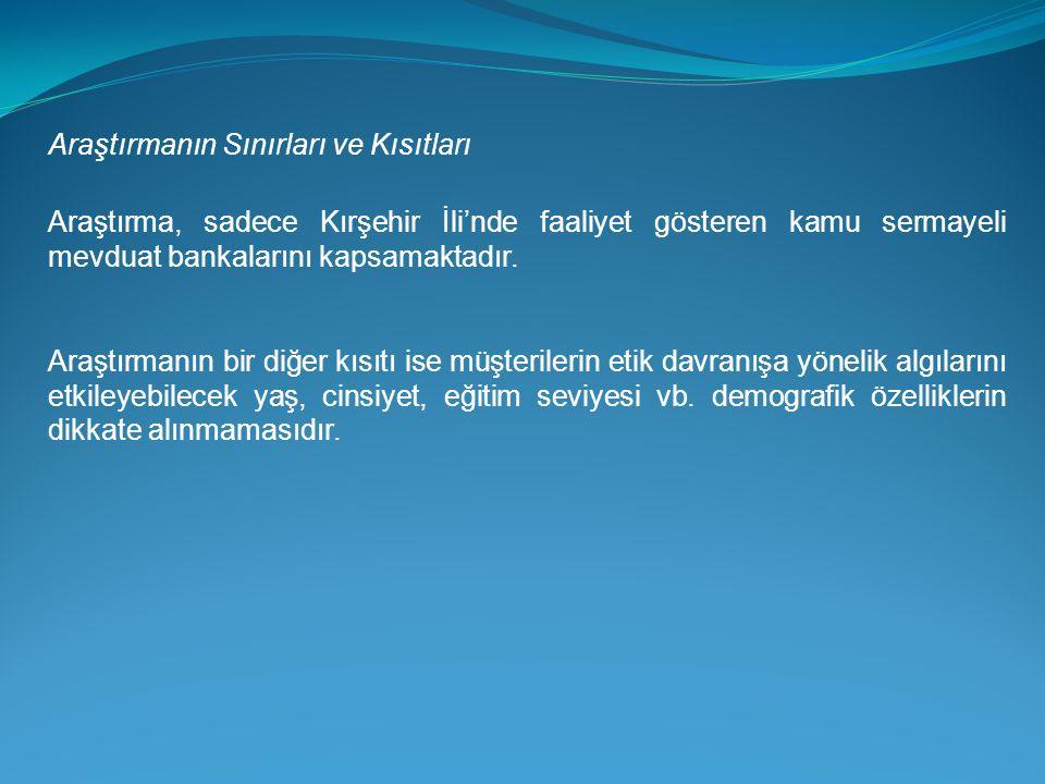 Araştırmanın Sınırları ve Kısıtları Araştırma, sadece Kırşehir İli'nde faaliyet gösteren kamu sermayeli mevduat bankalarını kapsamaktadır.