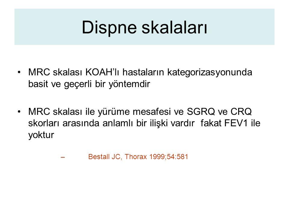 Dispne skalaları MRC skalası KOAH'lı hastaların kategorizasyonunda basit ve geçerli bir yöntemdir.
