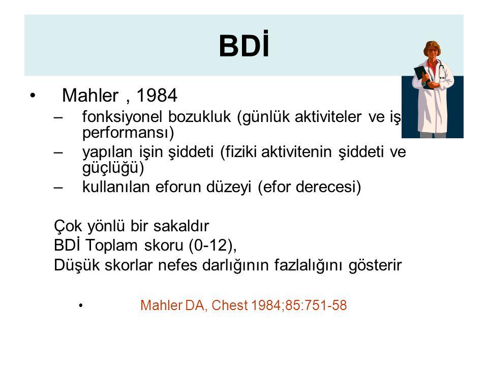 BDİ Mahler , 1984. fonksiyonel bozukluk (günlük aktiviteler ve iş performansı) yapılan işin şiddeti (fiziki aktivitenin şiddeti ve güçlüğü)