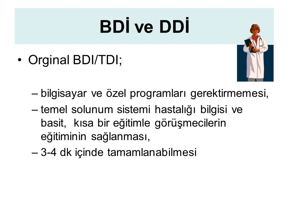 BDİ ve DDİ Orginal BDI/TDI;