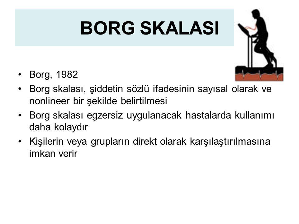 BORG SKALASI Borg, 1982. Borg skalası, şiddetin sözlü ifadesinin sayısal olarak ve nonlineer bir şekilde belirtilmesi.