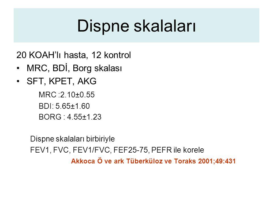 Dispne skalaları 20 KOAH'lı hasta, 12 kontrol MRC, BDİ, Borg skalası