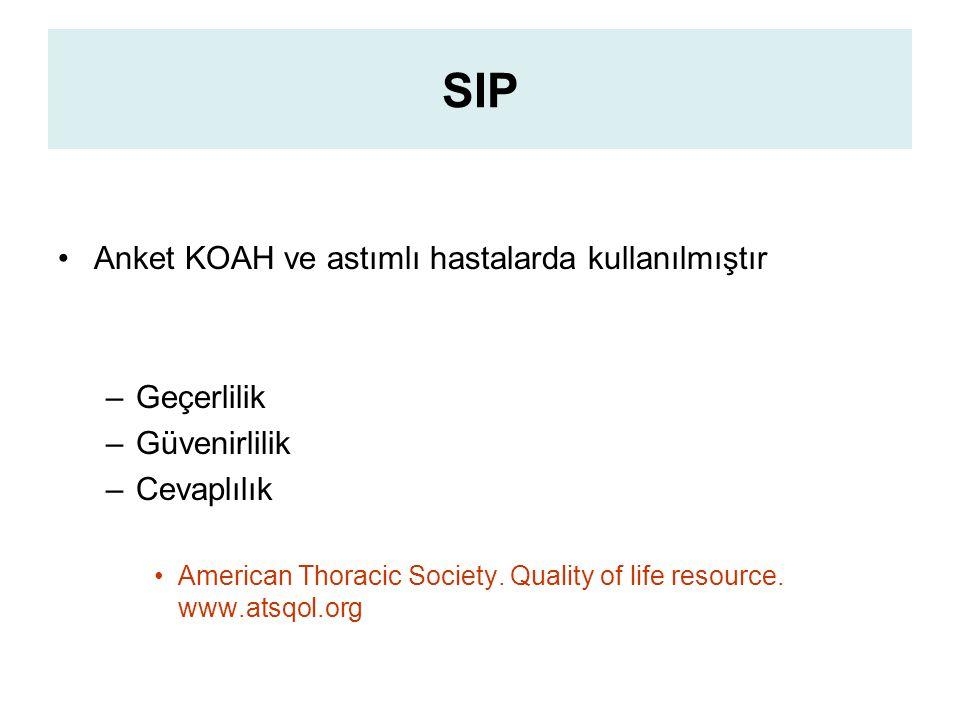 SIP Anket KOAH ve astımlı hastalarda kullanılmıştır Geçerlilik