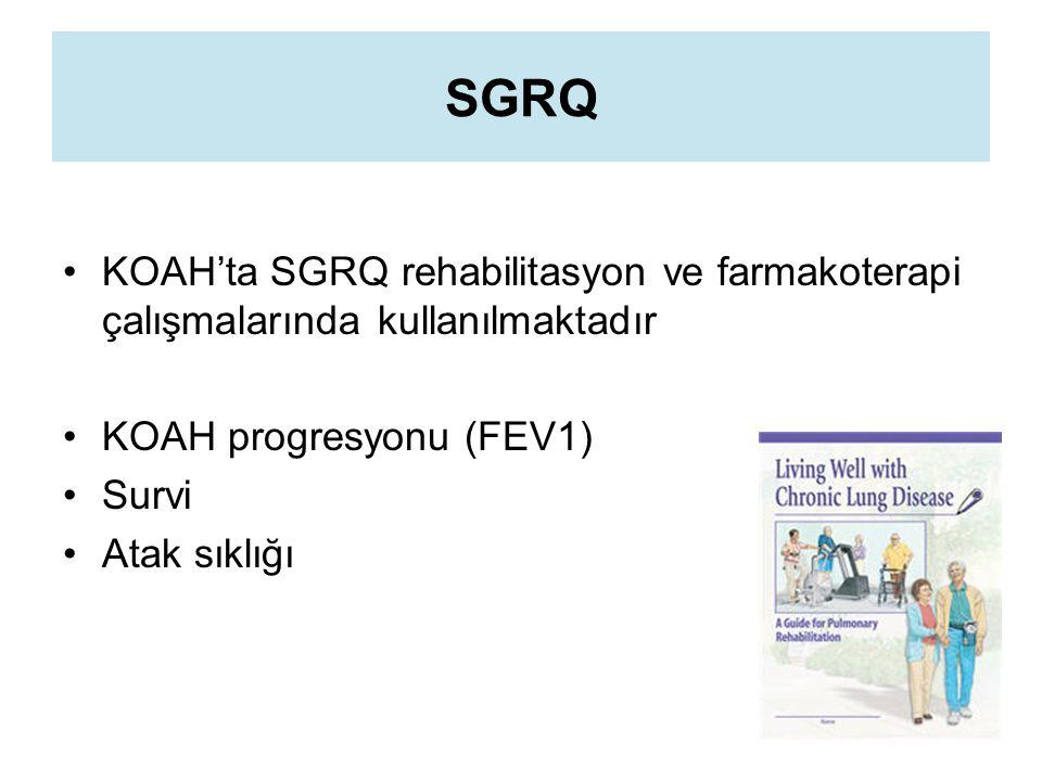 SGRQ KOAH'ta SGRQ rehabilitasyon ve farmakoterapi çalışmalarında kullanılmaktadır. KOAH progresyonu (FEV1)