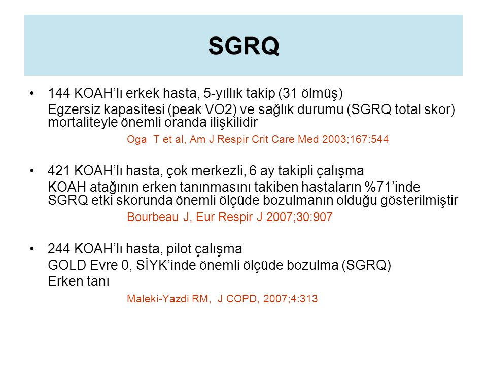 SGRQ 144 KOAH'lı erkek hasta, 5-yıllık takip (31 ölmüş)