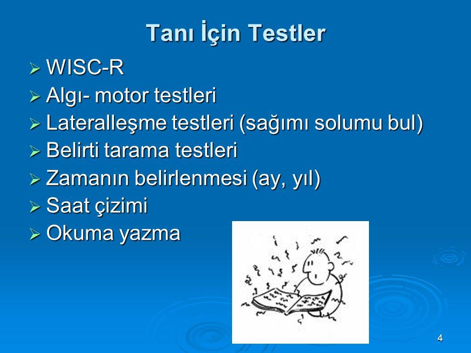 Tanı İçin Testler WISC-R Algı- motor testleri