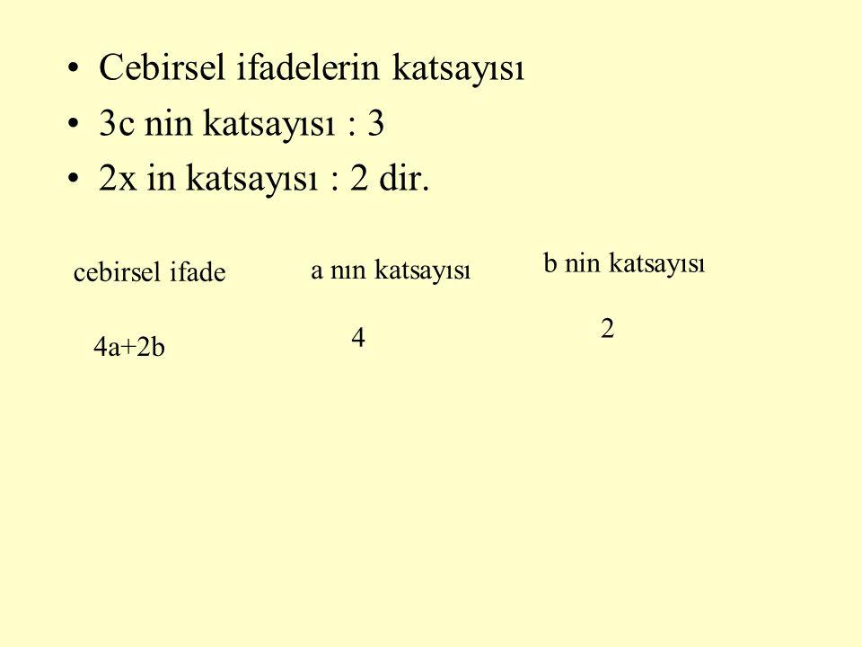 Cebirsel ifadelerin katsayısı 3c nin katsayısı : 3