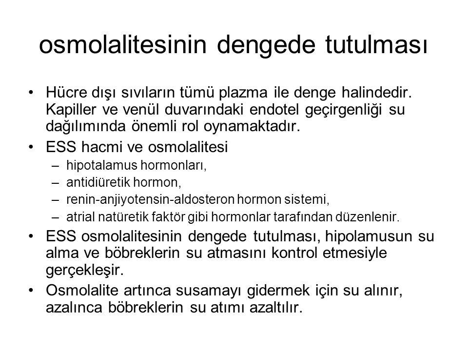 osmolalitesinin dengede tutulması