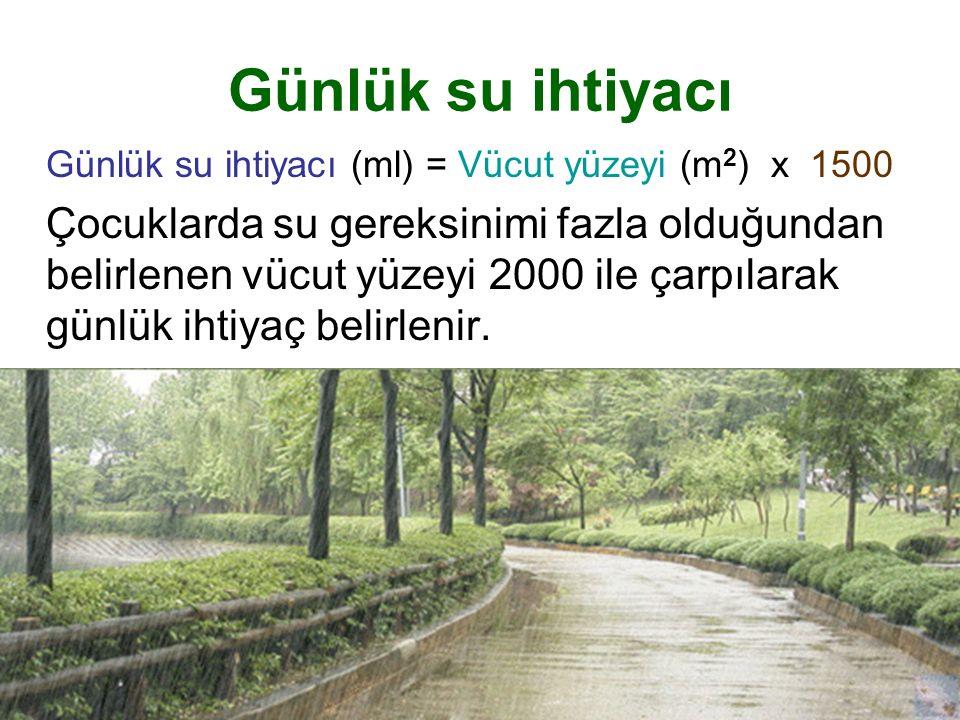 Günlük su ihtiyacı Günlük su ihtiyacı (ml) = Vücut yüzeyi (m2) x 1500.
