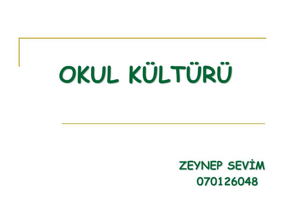 OKUL KÜLTÜRÜ ZEYNEP SEVİM 070126048