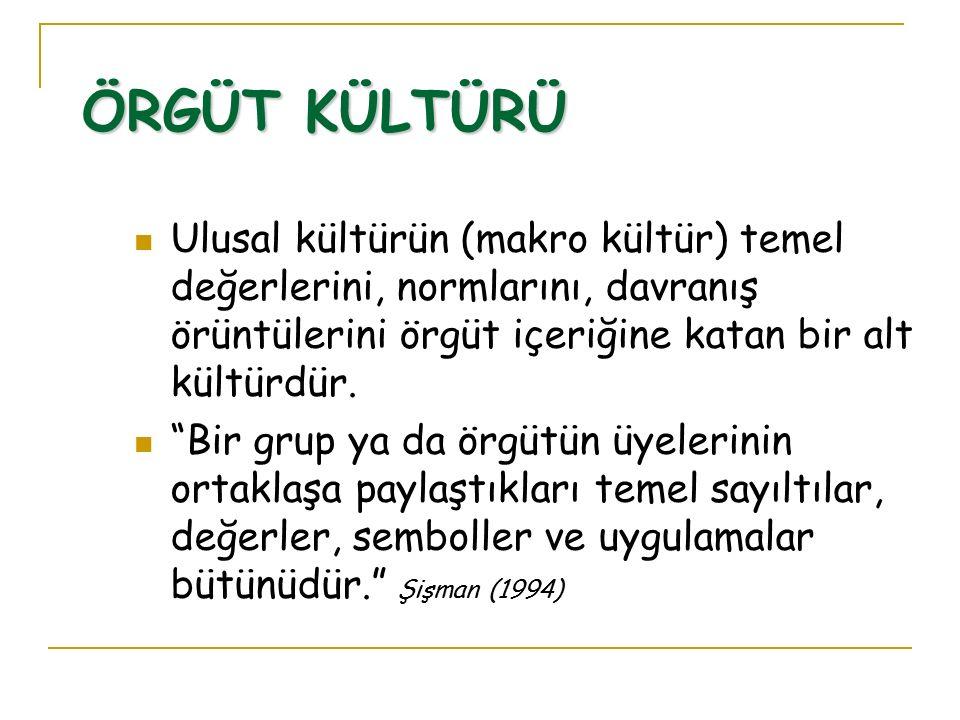 ÖRGÜT KÜLTÜRÜ Ulusal kültürün (makro kültür) temel değerlerini, normlarını, davranış örüntülerini örgüt içeriğine katan bir alt kültürdür.