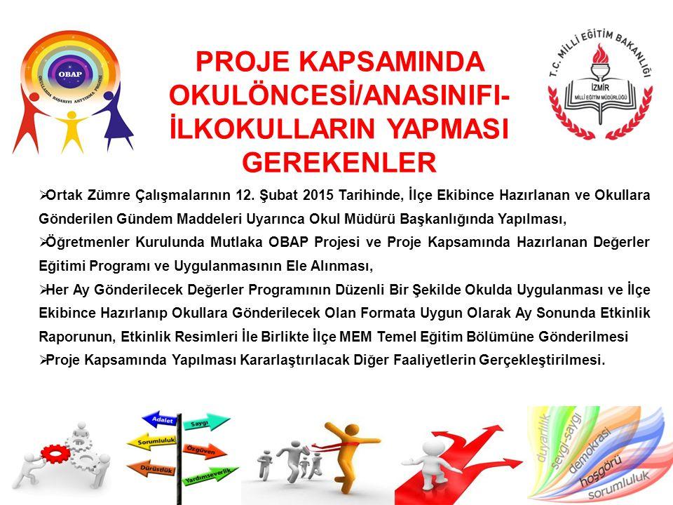 PROJE KAPSAMINDA OKULÖNCESİ/ANASINIFI-İLKOKULLARIN YAPMASI GEREKENLER