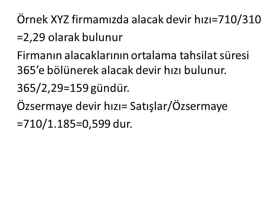 Örnek XYZ firmamızda alacak devir hızı=710/310 =2,29 olarak bulunur Firmanın alacaklarının ortalama tahsilat süresi 365'e bölünerek alacak devir hızı bulunur.
