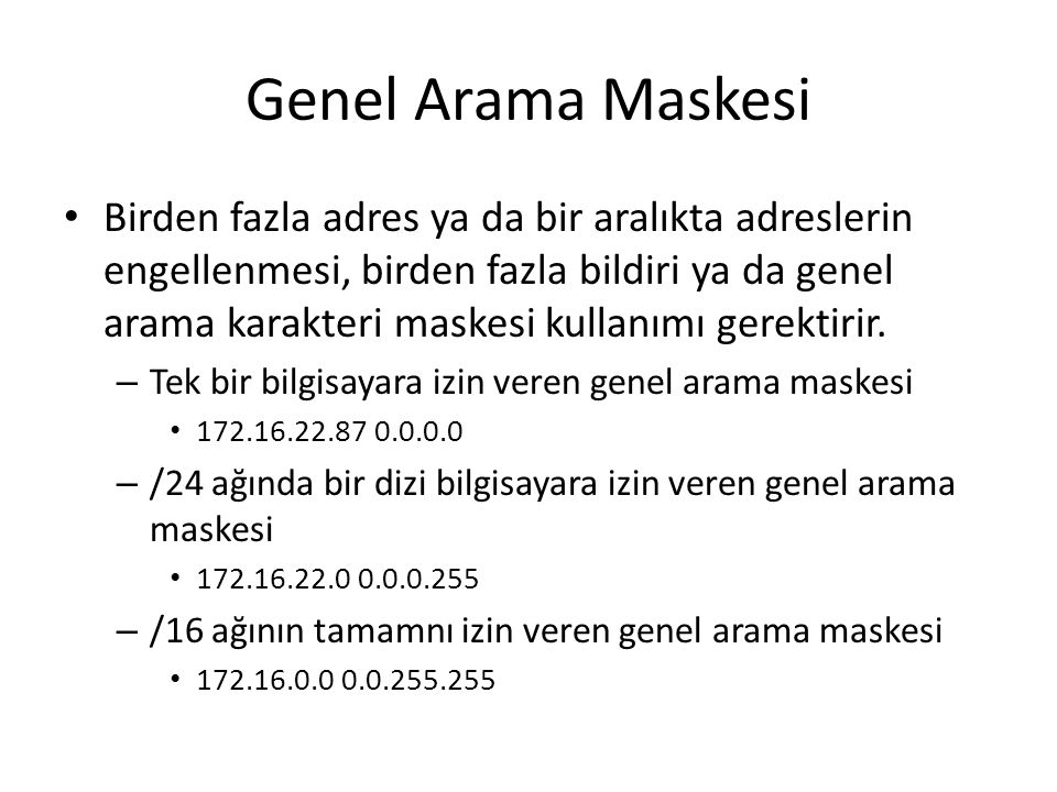 Genel Arama Maskesi
