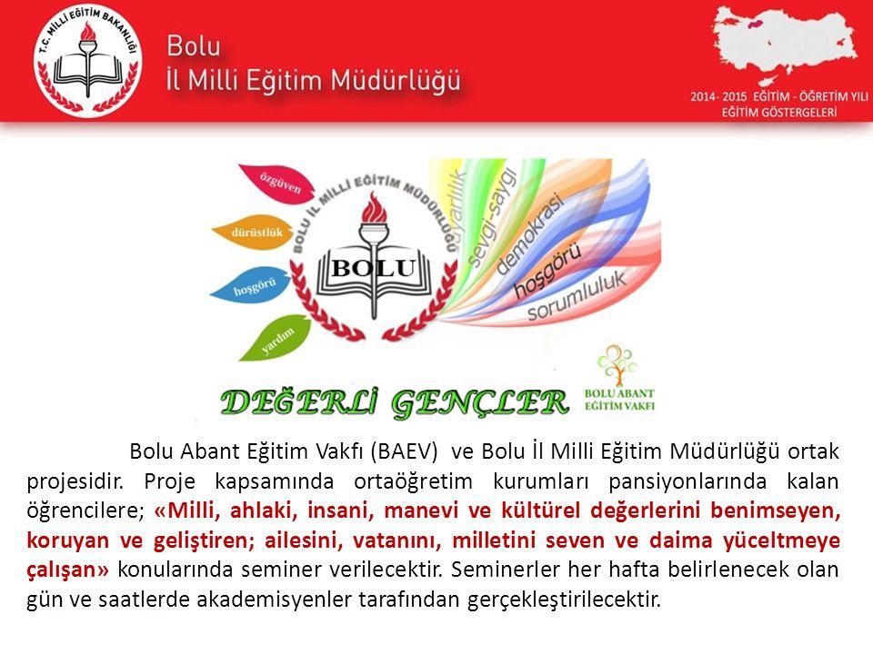 Bolu Abant Eğitim Vakfı (BAEV) ve Bolu İl Milli Eğitim Müdürlüğü ortak projesidir.