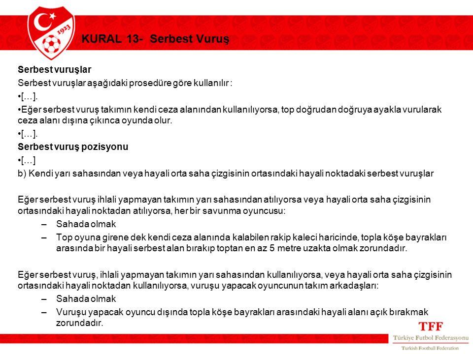 KURAL 13- Serbest Vuruş Serbest vuruşlar