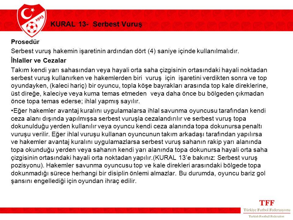KURAL 13- Serbest Vuruş Prosedür