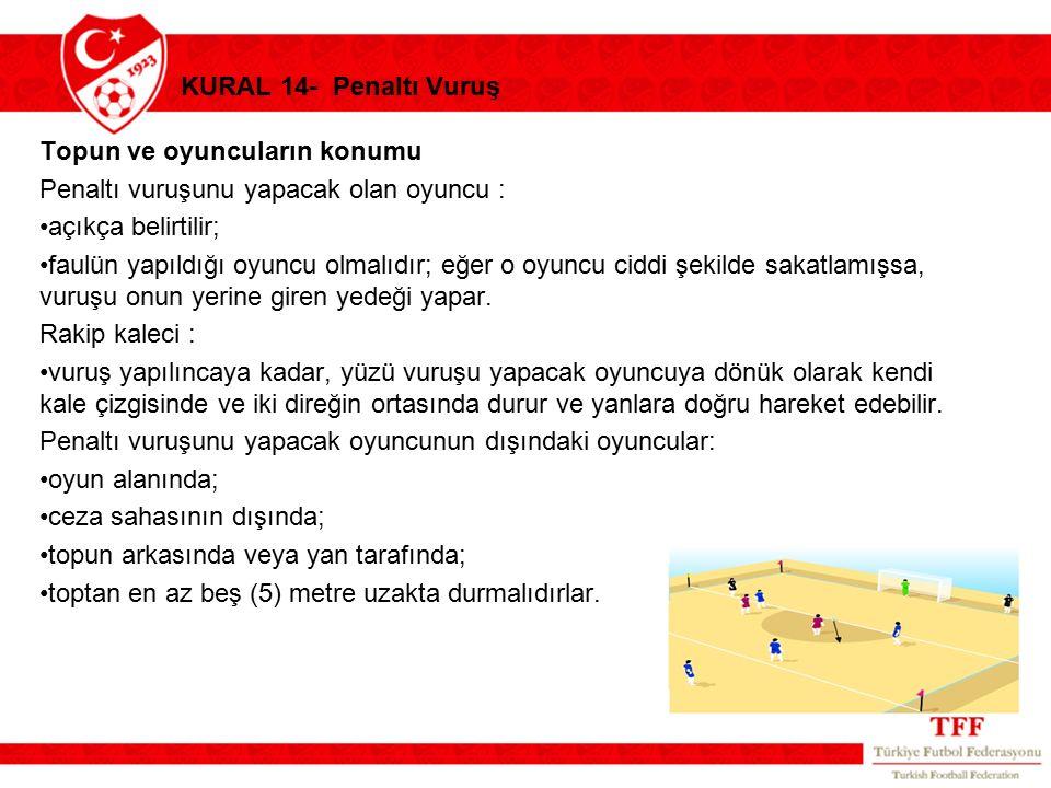 KURAL 14- Penaltı Vuruş Topun ve oyuncuların konumu. Penaltı vuruşunu yapacak olan oyuncu : açıkça belirtilir;