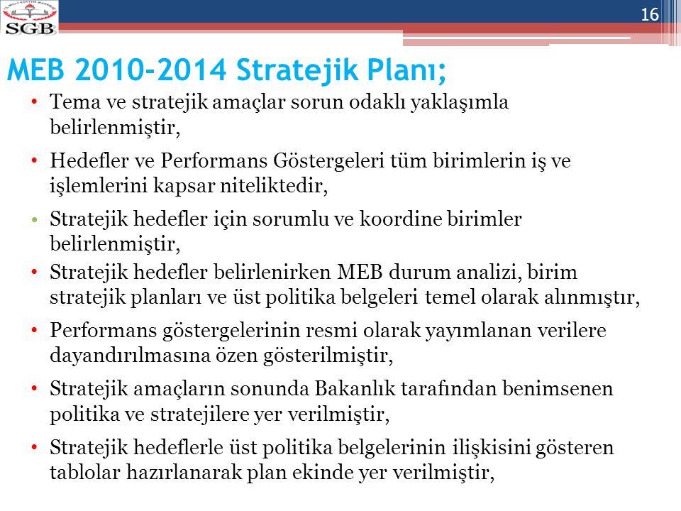 MEB 2010-2014 Stratejik Planı; Tema ve stratejik amaçlar sorun odaklı yaklaşımla belirlenmiştir,