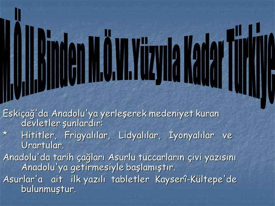 M.Ö.II.Binden M.Ö.VI.Yüzyıla Kadar Türkiye