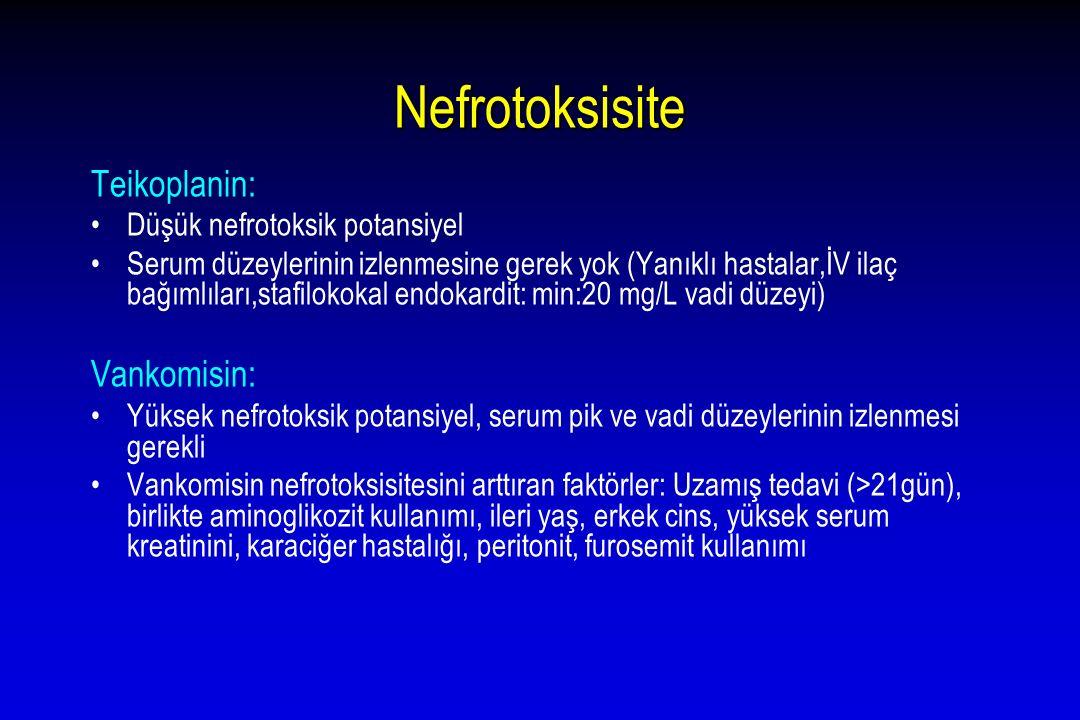 Nefrotoksisite Teikoplanin: Vankomisin: Düşük nefrotoksik potansiyel
