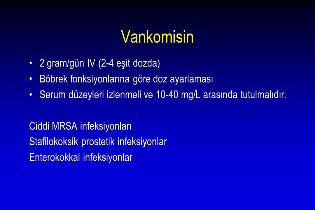 Vankomisin 2 gram/gün IV (2-4 eşit dozda)
