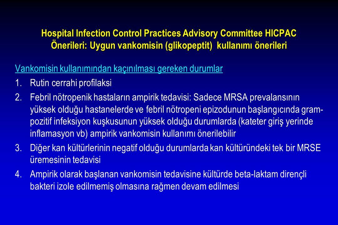 Hospital Infection Control Practices Advisory Committee HICPAC Önerileri: Uygun vankomisin (glikopeptit) kullanımı önerileri