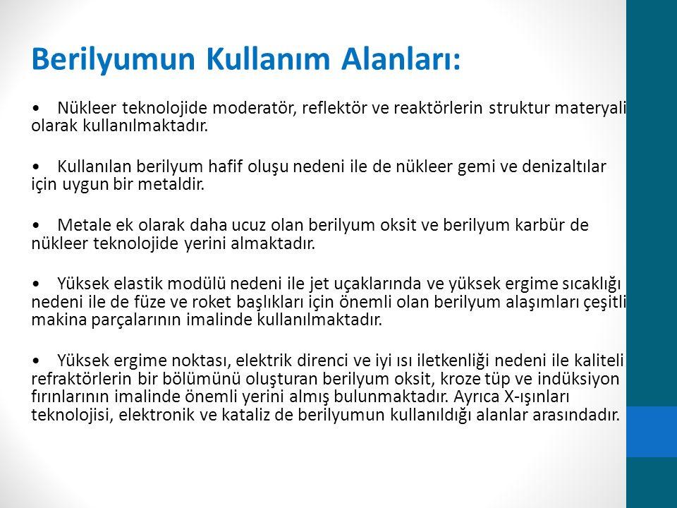 Berilyumun Kullanım Alanları: