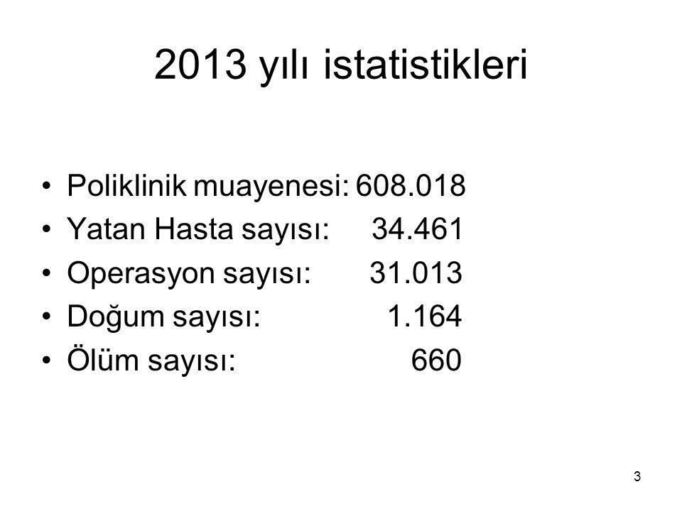2013 yılı istatistikleri Poliklinik muayenesi: 608.018