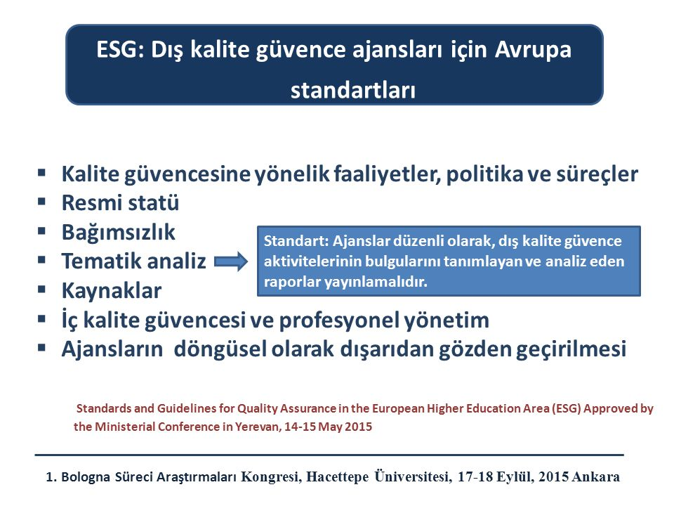 ESG: Dış kalite güvence ajansları için Avrupa standartları