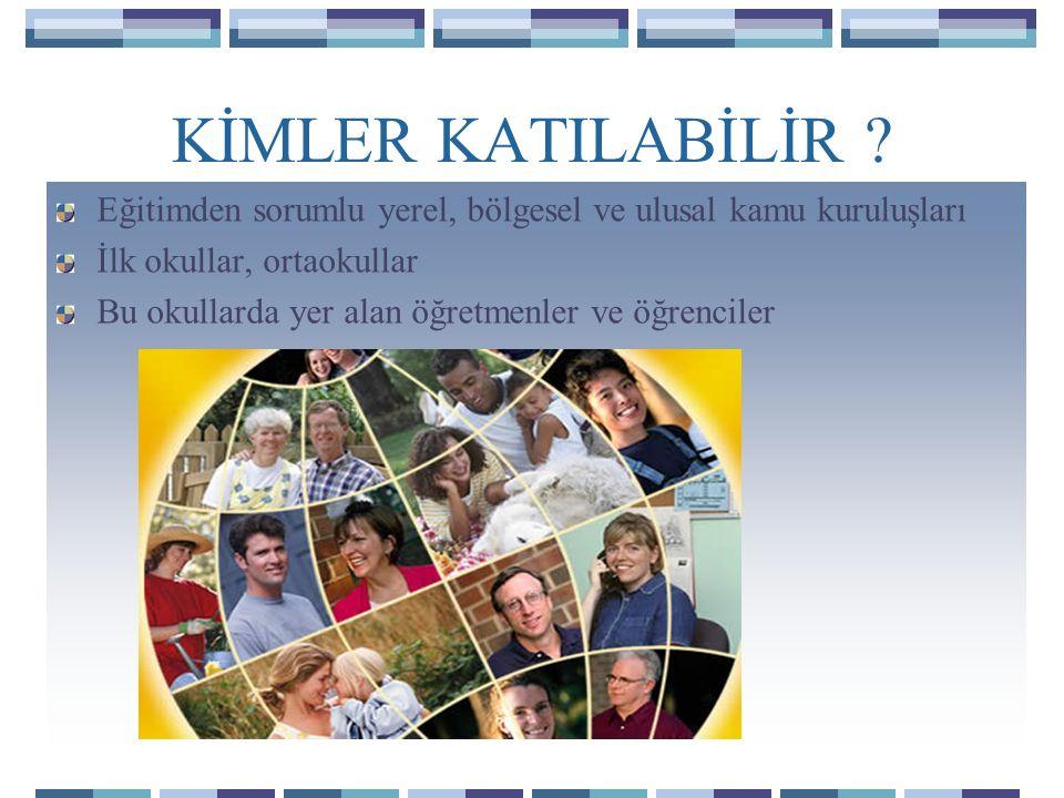 KİMLER KATILABİLİR Eğitimden sorumlu yerel, bölgesel ve ulusal kamu kuruluşları. İlk okullar, ortaokullar.