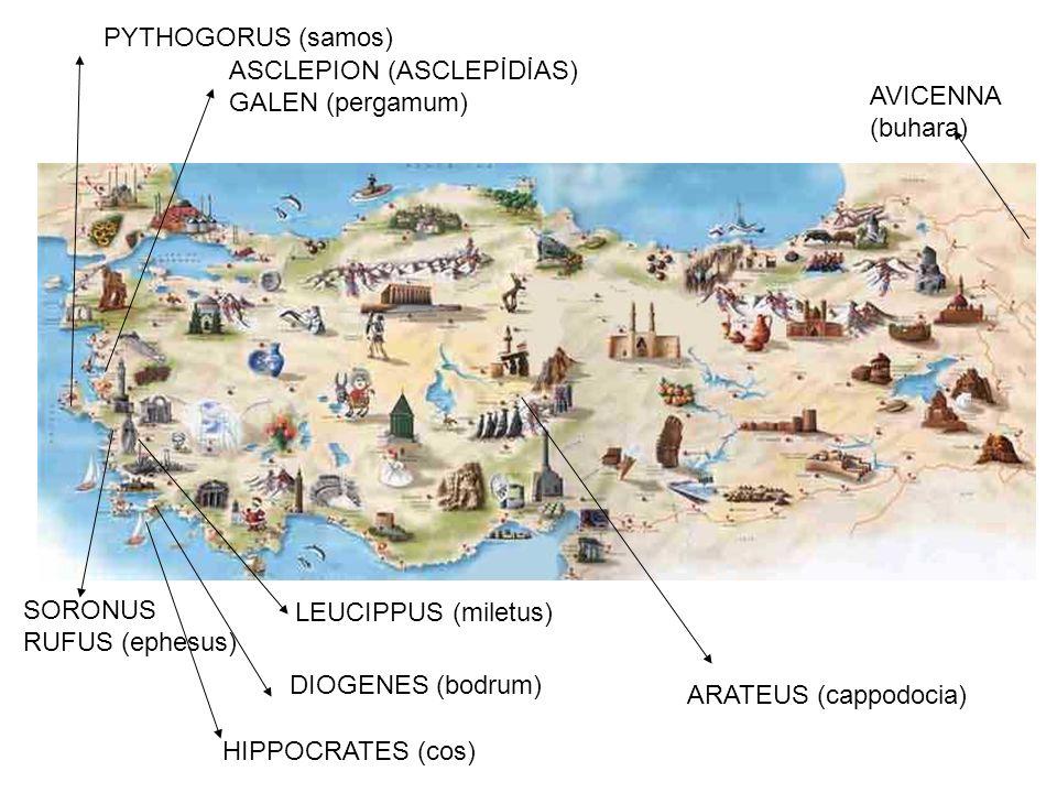PYTHOGORUS (samos) ASCLEPION (ASCLEPİDİAS) GALEN (pergamum) AVICENNA. (buhara) SORONUS. RUFUS (ephesus)