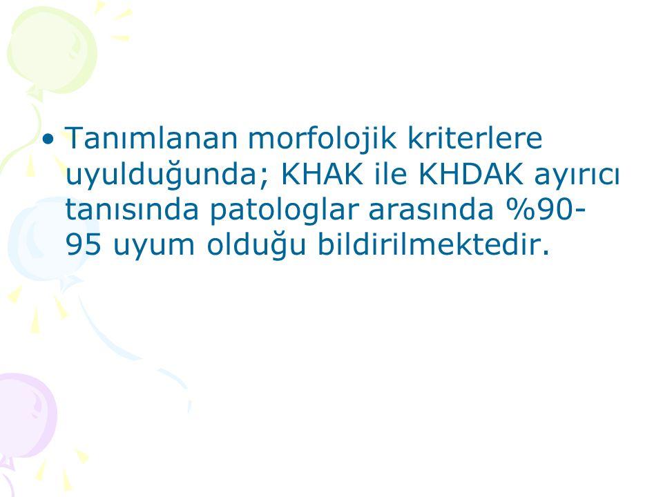 Tanımlanan morfolojik kriterlere uyulduğunda; KHAK ile KHDAK ayırıcı tanısında patologlar arasında %90-95 uyum olduğu bildirilmektedir.