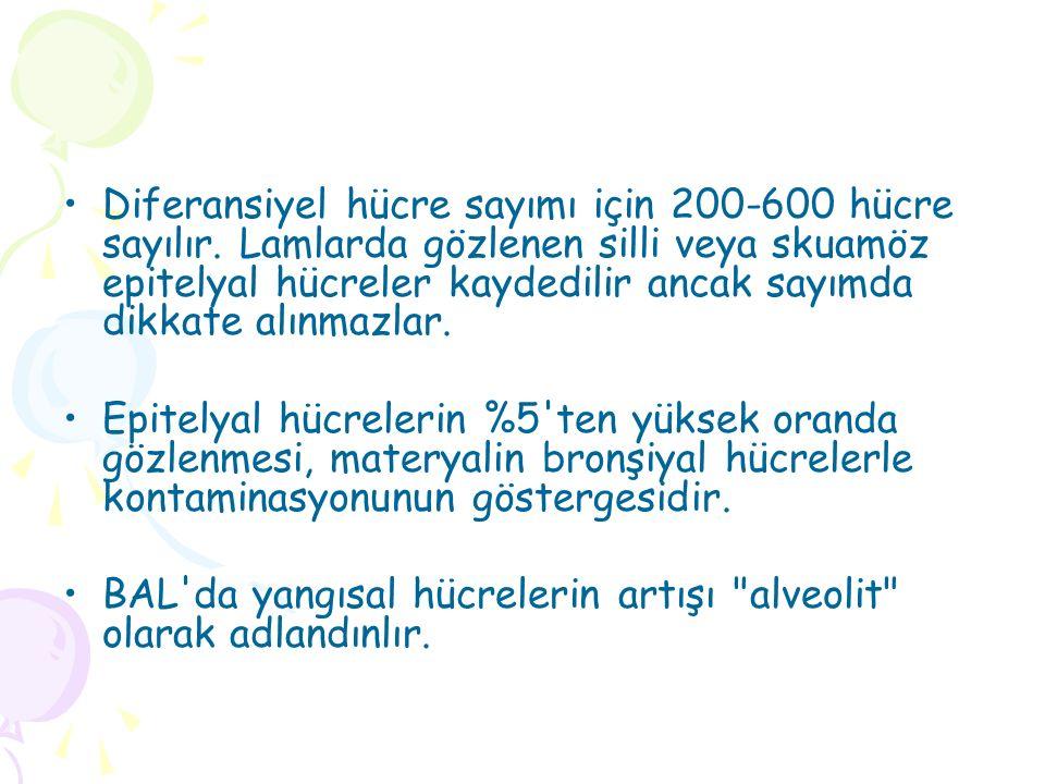 Diferansiyel hücre sayımı için 200-600 hücre sayılır