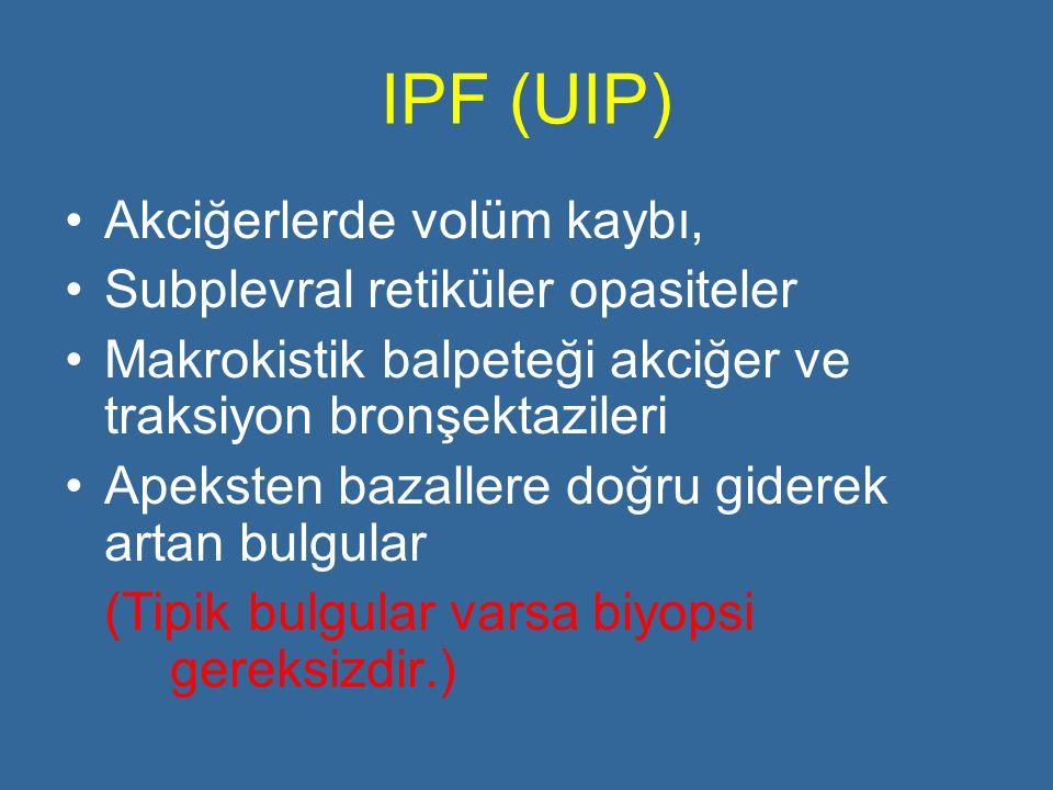 IPF (UIP) Akciğerlerde volüm kaybı, Subplevral retiküler opasiteler