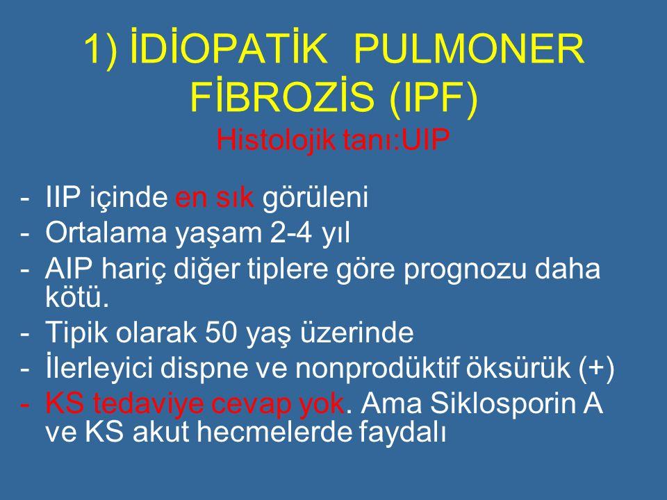 1) İDİOPATİK PULMONER FİBROZİS (IPF) Histolojik tanı:UIP