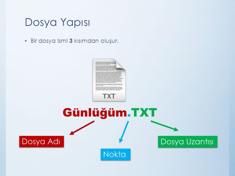 Günlüğüm.TXT Dosya Yapısı Dosya Adı Dosya Uzantısı Nokta