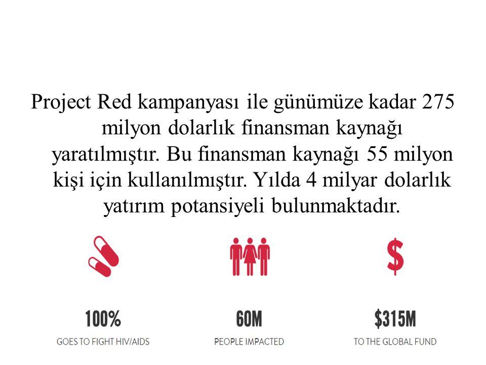 Project Red kampanyası ile günümüze kadar 275 milyon dolarlık finansman kaynağı yaratılmıştır.