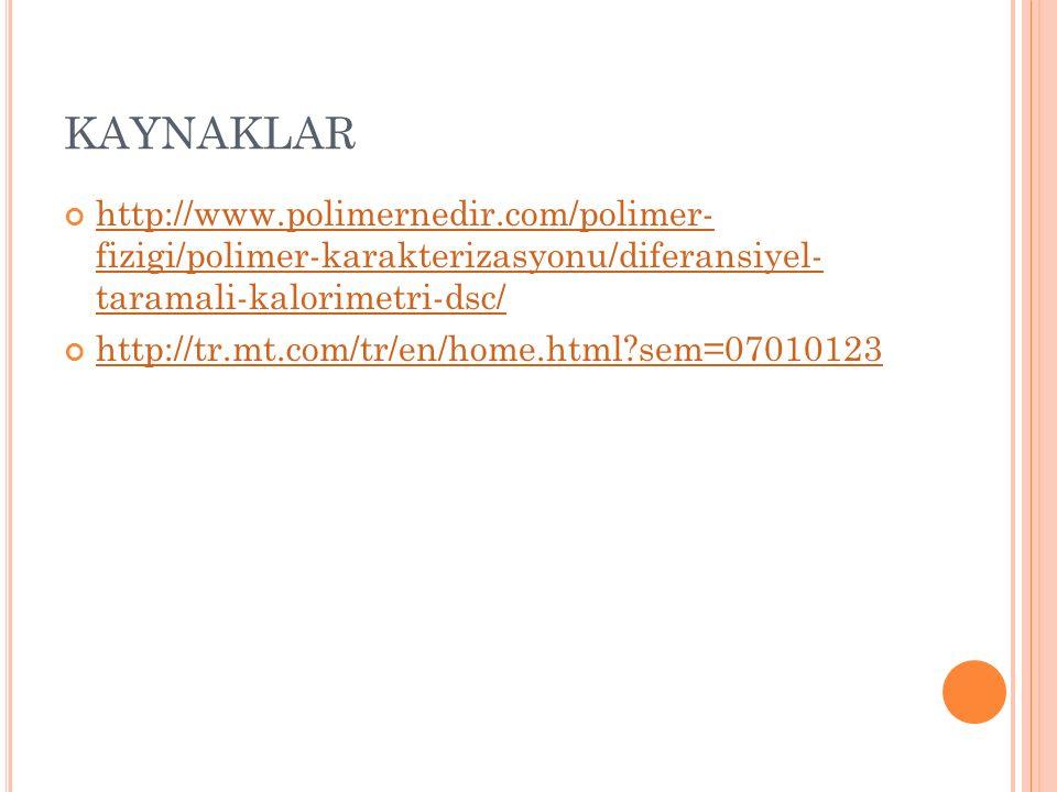 KAYNAKLAR http://www.polimernedir.com/polimer- fizigi/polimer-karakterizasyonu/diferansiyel- taramali-kalorimetri-dsc/
